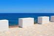 Mediterranean sea coastal view white milestones