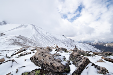Snow and rocks on the mountain pass, Caucasus mountains