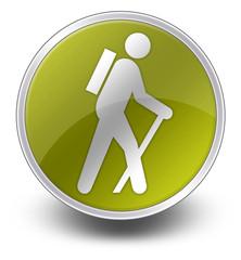 "Yellow Glossy Icon ""Hiking"""