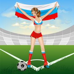 Russian girl soccer fan