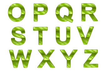 Green ecofriendly O-Z letters with grass pattern
