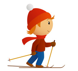 Little skier in red hat and scarf walking ski