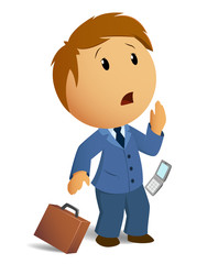 Vector image shocked businessman with throw case and cell phone