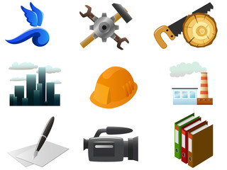 Vector image. Set of industrial and other icons.