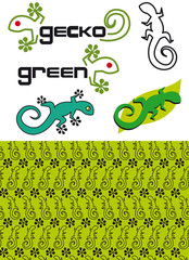 gecko logos and geckos seamless texture