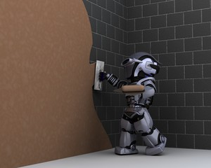 robot contractor plastering a wall