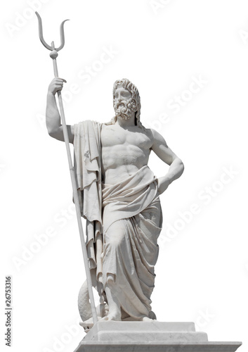 Marble statue of the sea god Neptune isolated on white