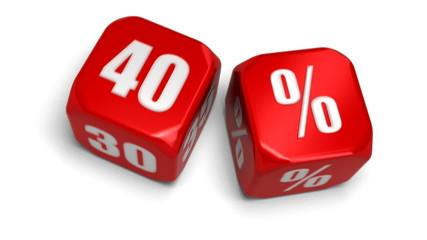 dé 40 pourcent soldes - fourty percent dice, sell