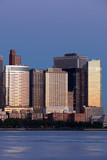 Manhattan Financial District at sunset panorama from Jersey city