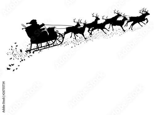 Weihnachtsmann mit Rentierschlitten - Silhouette