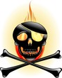 Teschio Pirata con Fuoco-Skull and Fire-Vector