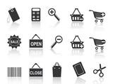 shopping e-commerce black icon set poster