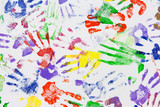 Varicoloured imprint of the hands poster