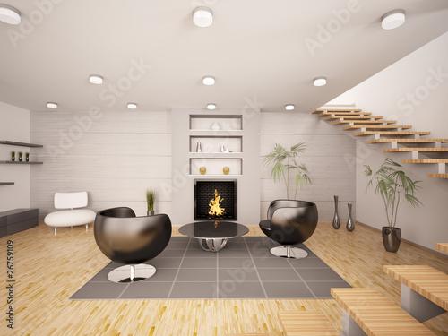 """wohnzimmer kamin kaufen:Wohnzimmer mit Kamin und zwei Sessel interior 3d render"""" Stockfotos"""