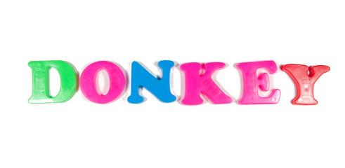 donkey written in fridge magnets