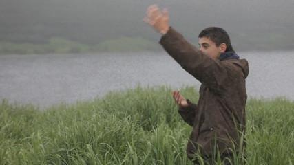 man, mosquitoes, midges