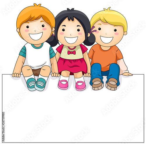 Kids with Blank Board