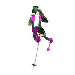 The mountain skier carries out acrobatic elements of Freestyle