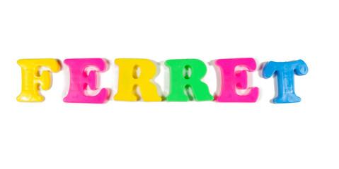 ferret written in fridge magnets