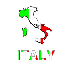 Italy map in the form of the Italian flag. Vector illustration