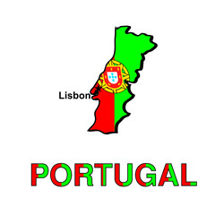 Card of Portugal in the form of the Portuguese flag. Vector illu