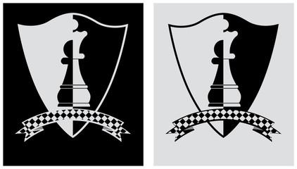 Chess crest with pawn and queen. vector illustration