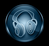 Headphone  icon dark blue, isolated on black background