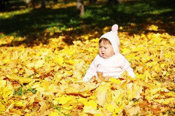 small child sits in yellow autumn leaves
