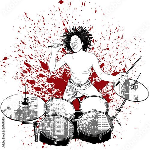 perkusista na tle grunge