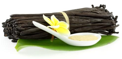 fleur de frangipanier sur botte de vanille Bourbon et sucre
