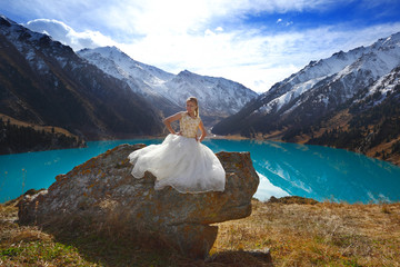 The bride in snow mountains