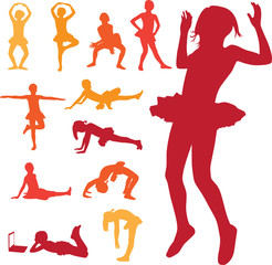 young girl vector silhouettes