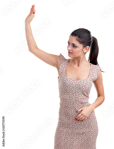 young posing woman waving hello