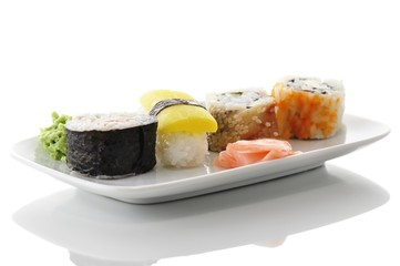 sushi on a white dish