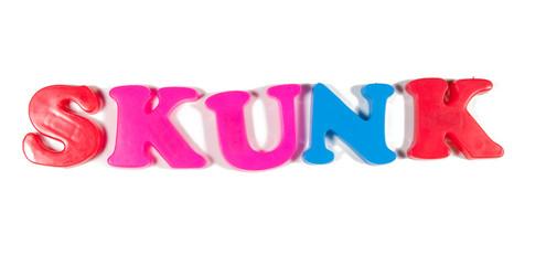 skunk written in fridge magnets