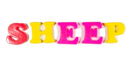 sheep written in fridge magnets