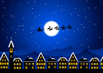 Santa Claus flying in the Christmas night