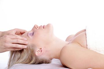Schläfen Massage, Entspannung pur, close up