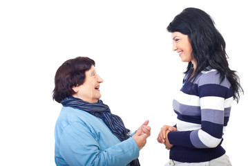 Grandma give advice to granddaughter