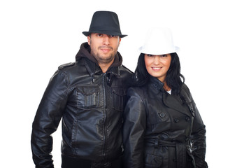 Cool couple in leather jackets