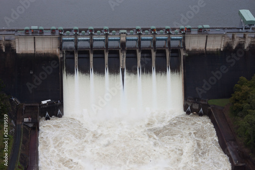 Aluminium Dam Dam Spillway Release Aerial View