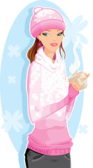 Girl with a hot drink