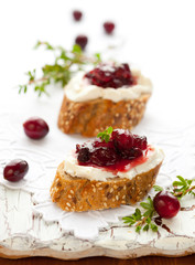 toast with cranberry jam