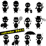 funny people with calendar for 2011 illustration