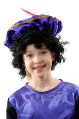 Little girl dressed as black pete over white background