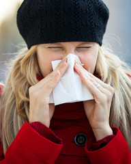 young woman has a cold