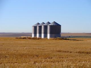 Grain silos on a praire farm