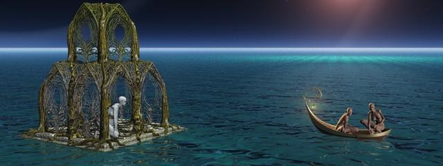 Die Tempeldame auf der Wasserwelt