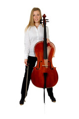 Young cellist standing astride on white background