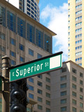 Superior Street Sign, Chicago poster